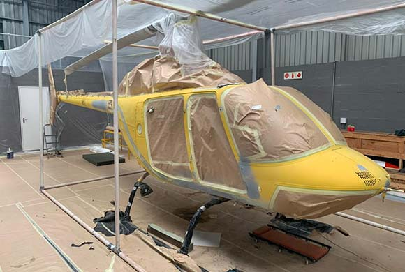 helicopter refurbishment spray painting
